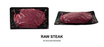 Vacuüm zwart plastic pak met vers geïsoleerd rundvleeslapje vlees royalty-vrije stock foto's