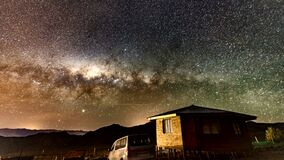 Vacuna, Chile - 2019-07-02 - Timelapse - Milky Way rotates over cabin as the sun rises