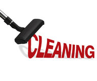 Vacuum cleaner. On white background Suction cleaning word Stock Images