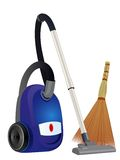 Vacuum cleaner and broom Stock Photos