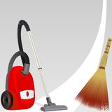 Vacuum cleaner and broom Royalty Free Stock Photography