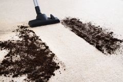 Vacuum cleaner cleaning carpet Royalty Free Stock Photo