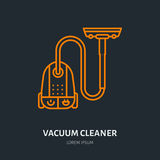 Vacuum cleaner flat line icon, logo. Vector illustration of household appliance for housework equipment shop or cleaning Royalty Free Stock Photography