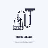 Vacuum cleaner flat line icon, logo. Vector illustration of household appliance for housework equipment shop or cleaning Royalty Free Stock Images
