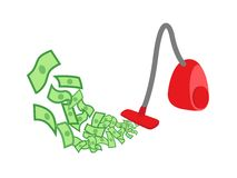 Vacuum cleaner gather money Royalty Free Stock Photos