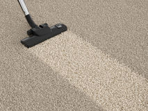 Vacuum cleaner hoover on dirty carpet. House cleaning concept Royalty Free Stock Photos