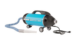 Vacuum cleaner of old type. The black-blue vacuum cleaner, with a striped hose and a black wire on a white background. The vacuum cleaner in a retro style Stock Image