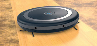 Vacuum cleaner robot. Close up view of a vacuum cleaner robot on a dirt wooden floor (3d render Royalty Free Stock Photo