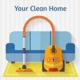 Vacuum cleaner. In room. Flat style vector illustration vector illustration