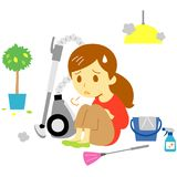 Vacuum cleaner, tired young woman Stock Images