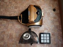 Vacuum cleaner to collect dust. No garbage bags. Details and close-up. Details and close-up stock image