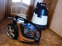 Vacuum cleaner to collect dust. No garbage bags. Details and close-up. Details and close-up royalty free stock images
