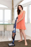 Vacuum cleaner woman Stock Photo