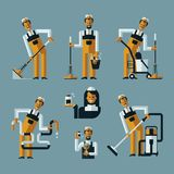 Vacuum cleaner worker icons Stock Photo