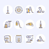 Vacuum cleaners colored flat line icons. Different vacuums types - industrial, household, handheld, robotic, canister Royalty Free Stock Images