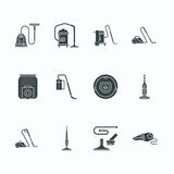 Vacuum cleaners flat glyph icons. Different vacuums types - industrial, household, handheld, robotic, canister, wet dry Royalty Free Stock Photos
