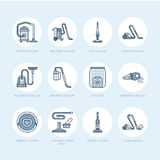 Vacuum cleaners flat line icons. Different vacuums types - industrial, household, handheld, robotic, canister, wet dry Stock Photography