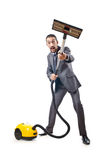Vacuum cleaning by businessman Stock Image