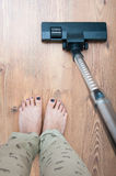 Vacuum cleaning woman Royalty Free Stock Image