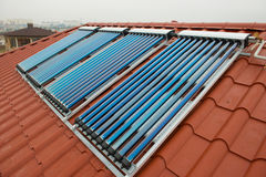 Vacuum collectors- solar water heating system Stock Images
