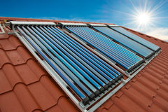 Vacuum collectors- solar water heating system Stock Image