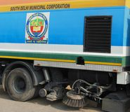 Vacuum dust cleaner sweeper truck Delhi India Dec 30 2017 South Delhi Municipal Corporation. Vacuum dust cleaner sweeper truck Delhi India Dec 30 2017 deployed stock image