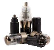 Vacuum electronic radio tubes set isolated on white Stock Photography