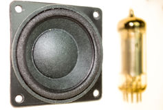 Vacuum electronic tubes and not wired loudspeaker Royalty Free Stock Photos
