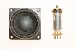 Vacuum electronic tubes and not wired loudspeaker Royalty Free Stock Images