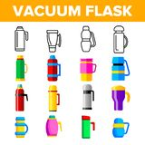 Vacuum Flasks And Bottles Vector Color Icons Set vector illustration