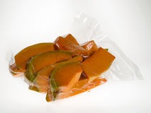 Vacuum packed pumpkin slices Royalty Free Stock Photos