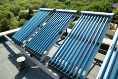 Vacuum solar cells for water heating system Stock Photo