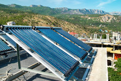 Vacuum solar cells for water heating system Stock Image