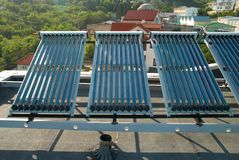 Vacuum solar water heating system Stock Image