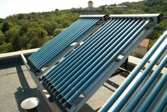 Vacuum solar water heating system Royalty Free Stock Photography
