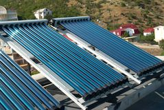 Vacuum solar water heating system Royalty Free Stock Photos