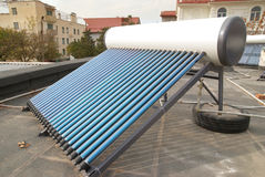 Vacuum solar water heating system Royalty Free Stock Image