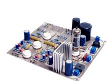Vacuum tube valve amplifier phono circuit board PCB Stock Image
