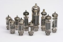 Vacuum tubes (old ones). Several vacuum tubes (old ones stock photography