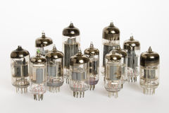 Vacuum tubes on white backgrou Stock Photo