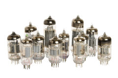 Vacuum tubes on white background Stock Photos
