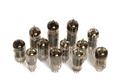Vacuum tubes on white background Royalty Free Stock Photo