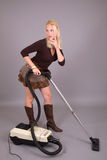 Vacuuming the house Stock Photo