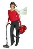 Vacuuming sveglio della ragazza Fotografie Stock Libere da Diritti