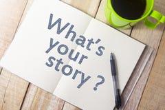Vad är din berättelse, motivational inspirerande citationstecken för affären arkivbild