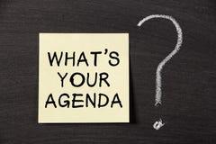 Vad är din dagordning? fotografering för bildbyråer