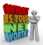 Vad är din för frågeslutsumman för netto värde rikedom för värde för pengar Arkivfoton