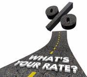 Vad är dina intresseRate Loan Mortgage Credit Road ord 3d Illu royaltyfri illustrationer