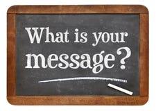 Vad är ditt meddelande? Svart tavlatecken Fotografering för Bildbyråer