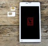 Vad är, kan typ av simkortet använda på din mobil, den smarta telefonen, bla Fotografering för Bildbyråer